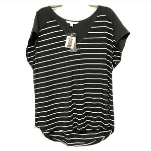 Black & White Striped Business Casual Top Size XL